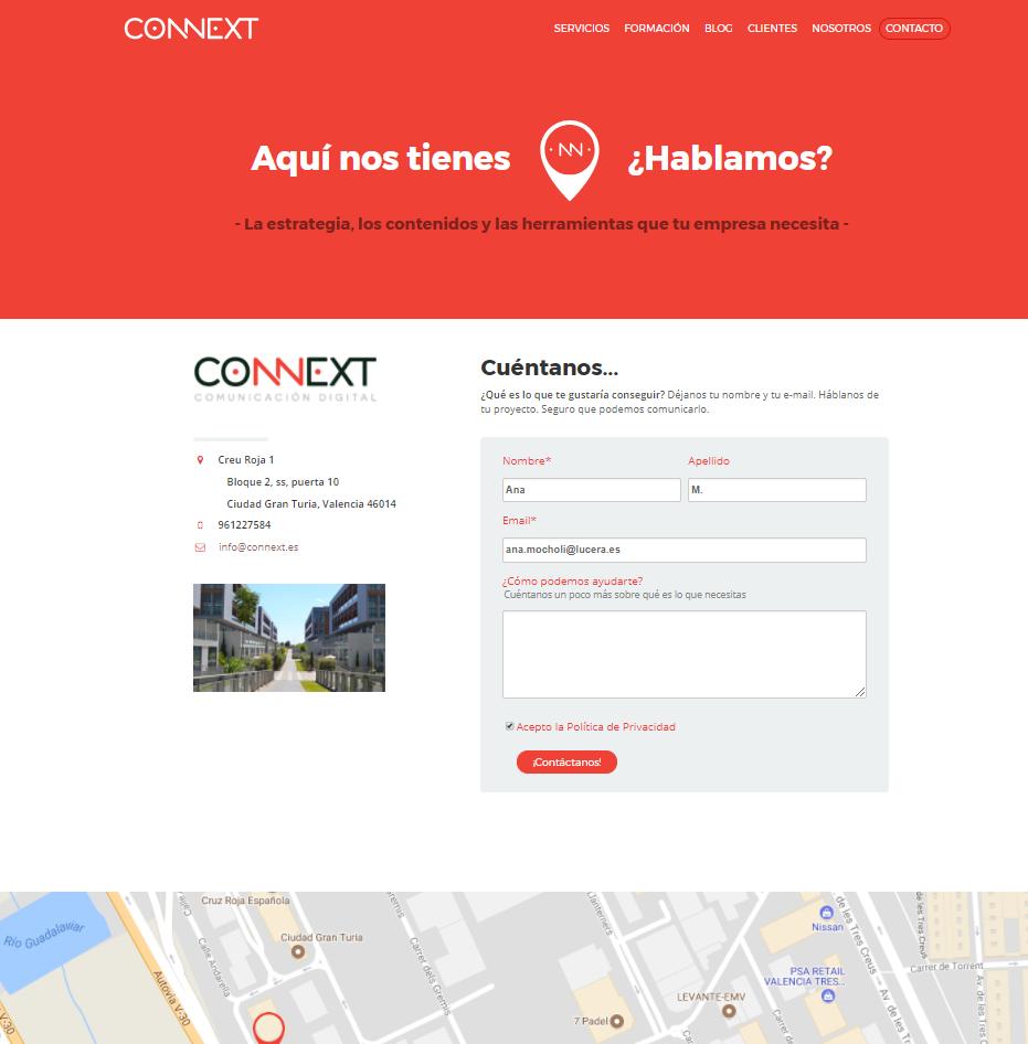 Página de contacto-Connext