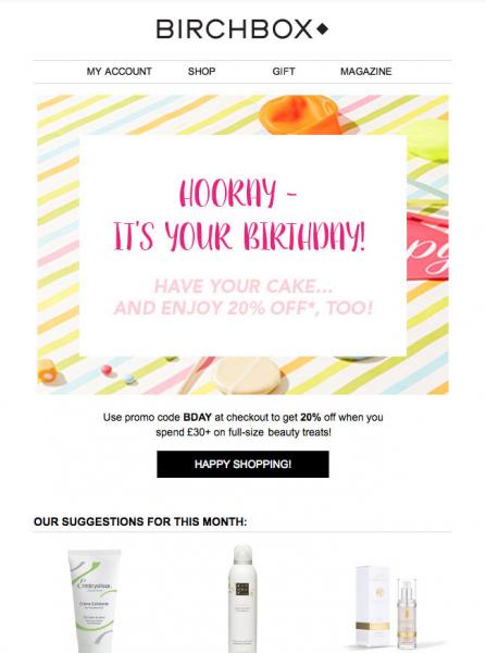 Diseño de emails - Birchbox