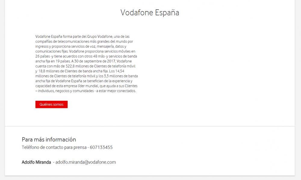 Boiler plate escribir nota de prensa Vodafone