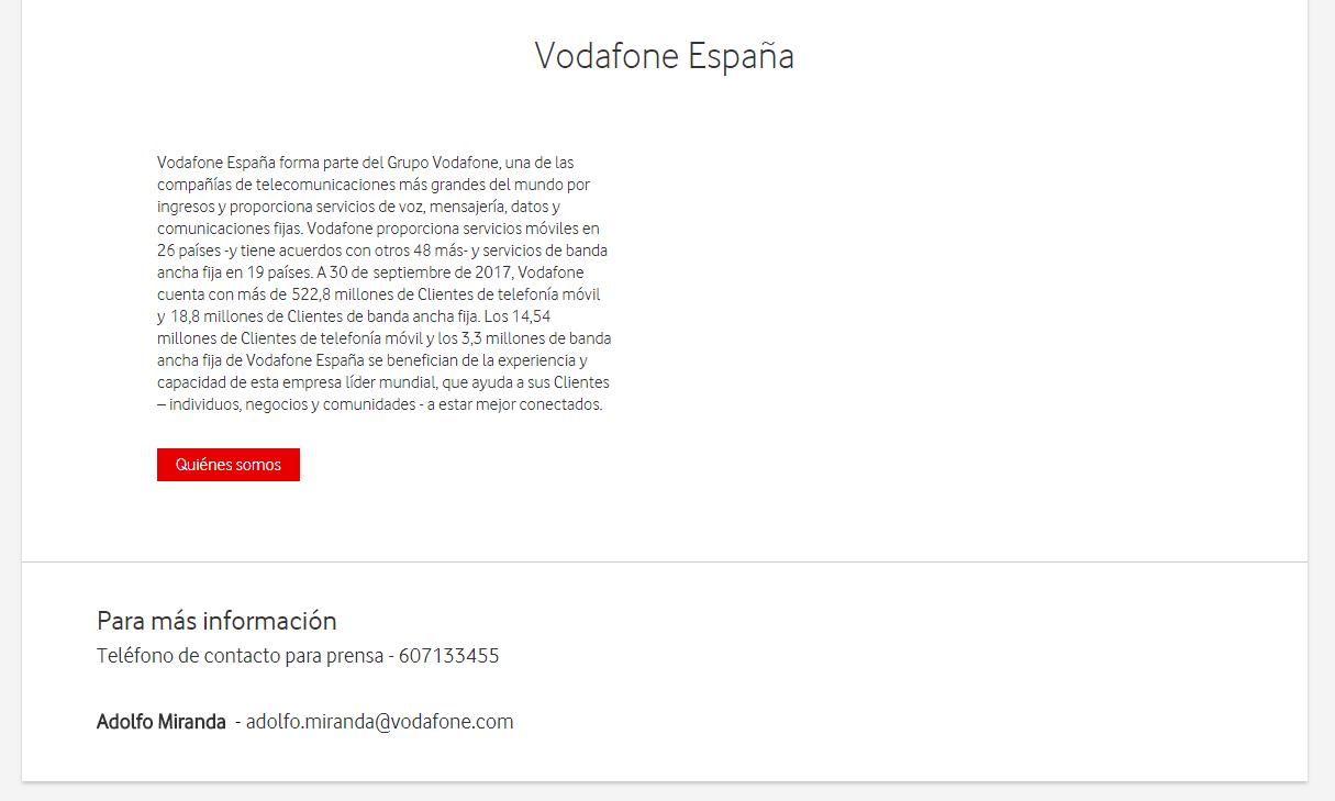 Boiler plate nota de prensa Vodafone