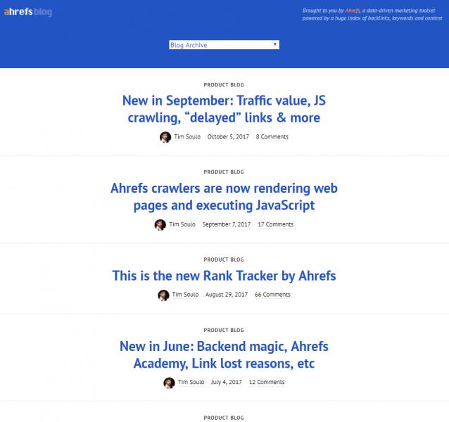 Blog corporativo AHREFS