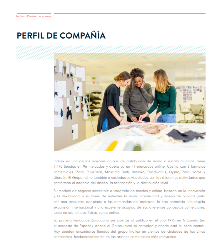 Perfil de empresa de Inditex - Media kit de tu negocio